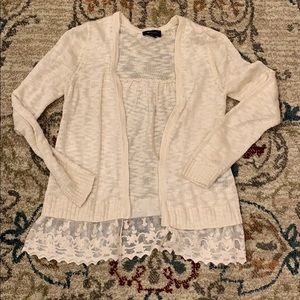 Ivory Cardigan w/ Lace Detail